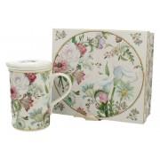 Cana de ceai cu infuzor cu flori