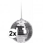 Geen 2x Kerstboom decoratie discoballen zilver 6 cm
