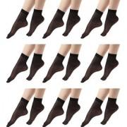 Pack of 10 Black Ultra-Thin Transparent Nylon Special Socks/Stocking Socks for Ladies/Women/Girl's(Ankle Length Socks)