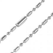 Ezüst színű, ovális szemű katonai nemesacél nyaklánc ékszer