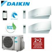 Daikin Climatizzatore Daikin Bluevolution Emura White 9+9 New 2018 Inverter Dual Split 9000+9000 Btu / 2mxm40m Wi-Fi Gas R32 + Staffe