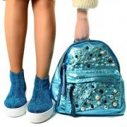 Zaino Donna Morbida Ecopelle Metalizzata Azzurra con Zip e Perle