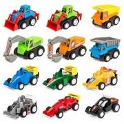 Akrobo Plastic Funcorn Play Construction Engineering Vehicle Mini Dumper Excavator Truck Toy Kit Set for Children (Multicolour) - Pack of 12
