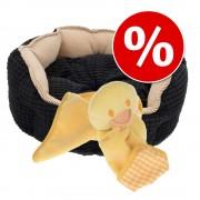 Икономичен комплект: легло Cozy Kingdom + меко одеало Quaxie - 40 см - Размер S (Ø 45 см) + меко одеяло Quaxie