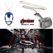 2 Pc AVENGER SET - THOR HAMMER - SILVER COLOUR & IRONMAN FACE (BLUE/SILVER) IMPORTED METAL PENDANTS WITH CHAIN ❤ LATEST ARRIVALS - RINGS, KEYCHAINS, BRACELET & T SHIRT - CAPTAIN AMERICA - AVENGERS - MARVEL - SHIELD - IRONMAN - HULK - THOR - X MEN - DC - B