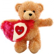 DealBindaas Skoda Bear w/Heart Valentine Soft Toy 30 cms Brown