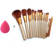 Magideal Makeup Brushes Set 12 Eyebrow Foundation Powder Eyeliner Lip Brushes 1 Puff