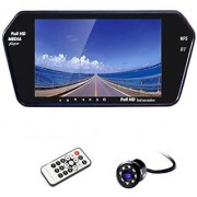 BRPEARL 7 Inch Bluetooth Car Video Monitor With 8 LED View Night Vision Camera for Tata Indigo CS