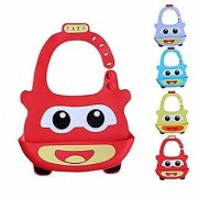 REGAL Silicone Taxi Baby Bibs Waterproof Baby Drool Bibs with Wide Pocket BPA-Free Easily Wipe Clean Cute Cartoon Desig
