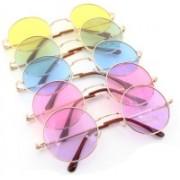 Elligator Round Sunglasses(Yellow, Green, Blue, Pink, Violet)