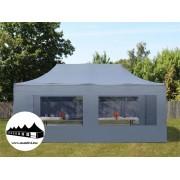 3x6m összecsukható pavilon panoráma ablakos Szürke Professional ()