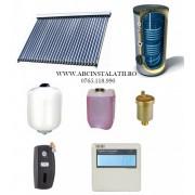 Pachet panou solar cu 30 tuburi vidate SONTEC si boiler 200 litri cu 2 serpentine pentru 4-5 persoane