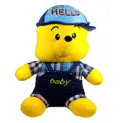 A-Mart soft toy animal teddy bear winnie the pooh yellow blue with cap 12 inch