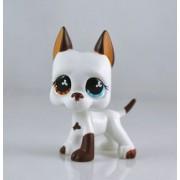 LHJ #577 Rare Lps Littlest Pet Shop White & Brown Great Dane Dog Puppy Blue Eye Toy