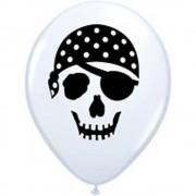 """Baloane latex 5"""" inscriptionate Pirate Skull White, Qualatex 99779"""