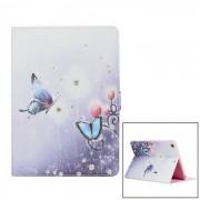 Protector pintado mariposa PU caja de cuero con cristal para Ipad AIR - azul claro + blanco