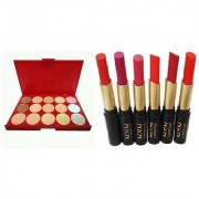 Combo NN lipstick 6 Pcs WITH Imported 15 Colors Cream Concealer Highlight Face Contour Foundation Pallete