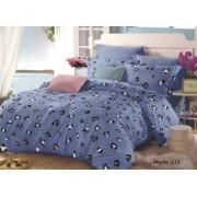 Lenjerie de pat matrimonial cu husa de perna dreptunghiulara Blue Panda bumbac mercerizat multicolor