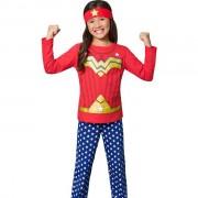Pijama Feminino Longo Veggi Mulher Maravilha Brilha no Escuro com Tiara
