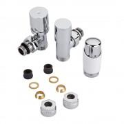 Hudson Reed Robinet radiateur thermostatique - Blanc & Chrome - Adaptateurs cuivre 14mm