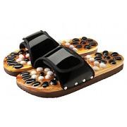 Масажни чехли CASADA за рефлексотерапия с естествени камъни - черен цвят - размер XL (№42-44)