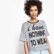LA REDOUTE COLLECTIONS T-Shirt, Message-Aufdruck, kontrastierender Ausschnitt