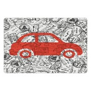 Cartoon Pet Mats for Food and Water by Lunarable, Little Car with Travel Themed Passport Stamps Background Abstract Design, Rectangle Non-Slip Rubber Mat for Dogs and Cats, Black Orange White