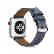 Top Layer Cowhide Leather Watch Strap Replacement for Apple Watch Series 4 44mm, Series 3 / 2 / 1 42mm - Blue