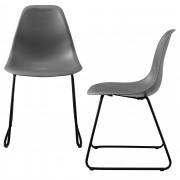 [en.casa]® Design stolica - set od 2 komada - 82 x 46,5cm - metalne nogare - tamno siva