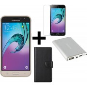 Samsung Galaxy J3 2016 Goud + Portemonnee hoesje Zwart + tempered glass + 3800 mAh Samson Powerbank