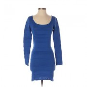 Assorted Brands Casual Dress - Bodycon: Blue Solid Dresses - Used - Size Small