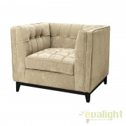 Fotoliu confortabil si elegant, tapiterie din catifea ALDGATE bej 110193 HZ