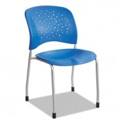 Reve Series Guest Chair W/ Straight Legs, Lapis Plastic, Silver Steel, 2/carton