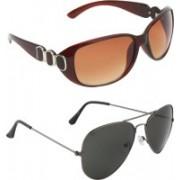 Zyaden Oval, Aviator Sunglasses(Brown, Black)