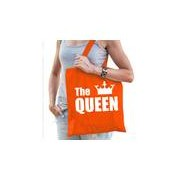 Bellatio Decorations Katoenen tas / shopper oranje the queen met witte kroon dames