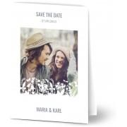 Optimalprint Save the Date kort, glansigt papper, standard-kuvert, 1 st, fotokort (1 foto), blommor, minimal, personnalized, siluette, vit, A6, vikt, Optimalprint