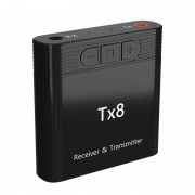 TX8 2-in-1 Bluetooth 5.0 Transmitter Receiver Adapter for TV PC Headphone Music Audio Transceiver Receiver Transmitter - Black
