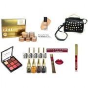SPECIAL BEAUTY MAKEUP KIT/COMBOS FOR WOMEN (PACK OF 9) + ELEGANT PARTY WEAR BLACK HANDBAGS FREE.