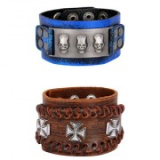 Denim Blue 100 Genuine Handcrafted 3D Cross Tan Brown Leather Wrist Band Strap Combo Pack Of 2 Bracelet Boys Men