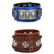 Denim Blue 100 Genuine Handcrafted 3D Cross Tan Brown Leather Wrist Band Strap Combo Pack Of 2 Bracelet Boys Men