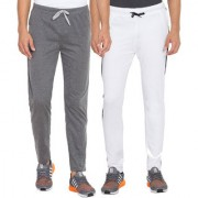 Cliths Men's Cotton Slim Fit Joggers Track Pants Combo Pack Of 2 (White Dark Grey)