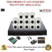 Cp Plus 1.3 MP HD 16CH DVR + Cp plus HD DOME IR CCTV Camera 13Pcs + 1TB HDD + POWER SUPLLAY + BNC + DC