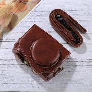 Full Body Camera PU Leather Camera Case Bag with Strap for Canon PowerShot G7 X Mark II (Coffee)