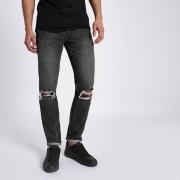 River Island Mens Black warp distressed stretch skinny jeans (Size 28 extra short)