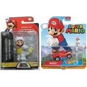 Cartoon Hot Wheels Character Car 2017 Super Mario Video Game Car & Figure White Tanooki Mario World of Nintendo Pack