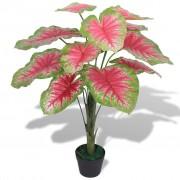 vidaXL Plantă artificială Caladium cu ghiveci, 70 cm, verde și roșu