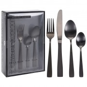 Excellent Houseware 16 Piece Cutlery Set Stainless Steel Black