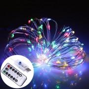 10M 100 LED 8 Modos USB Cable Cadena De Luz De Hadas De Plata Lampara Luz Decorativa Con 13 Teclas De Control Remoto, DC 5V (luz Colorida)