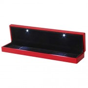 LED Lighted Jewelry Gift Box Lighting Rectangle Necklace Box Holder Case with Light for Jewelry Display (Red)
