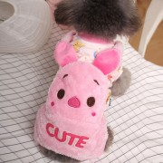Otoño E Invierno Pana Cálido Patron De Dibujos Animados De Perro De Mascota Ropa Para Mascotas Pequeñas, 1 #, Tamaño: 32 * 20 Cm, Peso: 1-1.5kg (rosa)